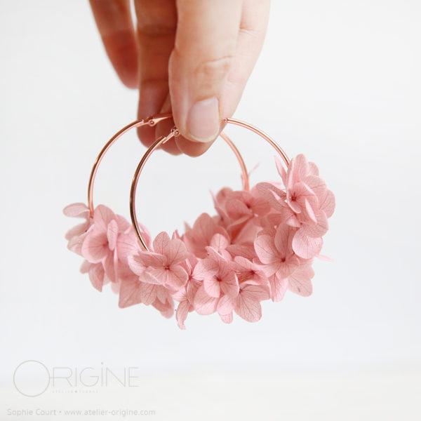 boucles-d'oreilles-végétales-fleurs-séchées-origine-atelier-floral-hortensia-rose