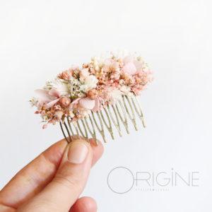 peigne-de-mariée-fleurs-séchées-mariage-rose-et-blanc-origine-atelier-floral